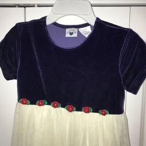 Hartstrings Dress- Blue Velvet with Tulle Skirt